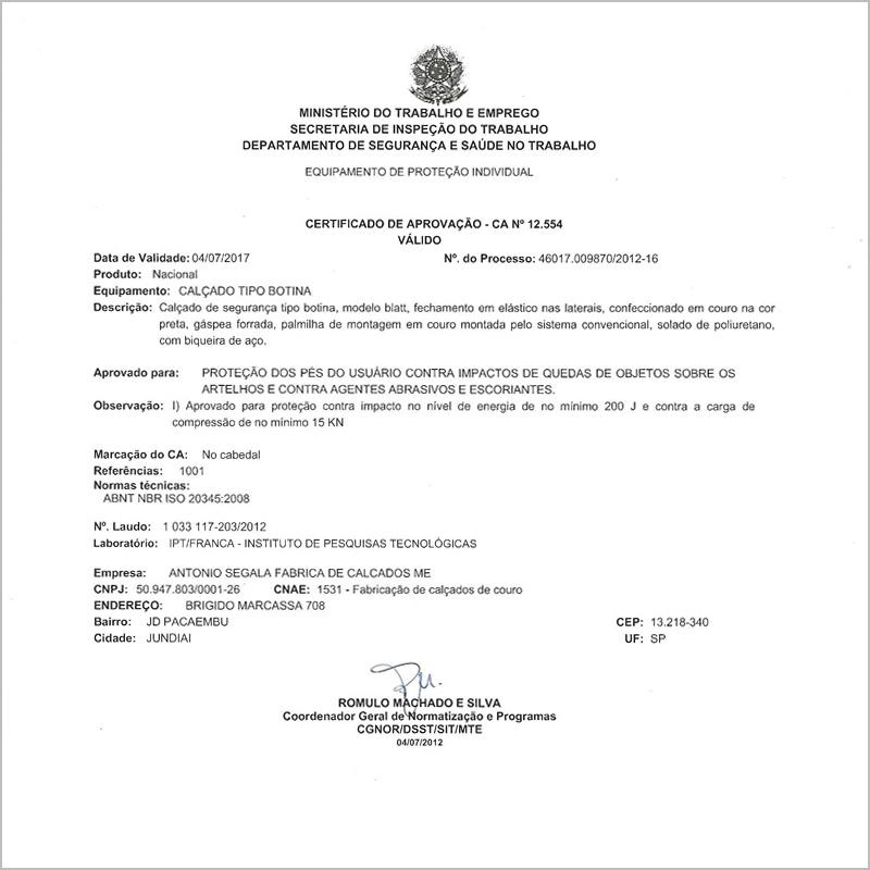 1e6a67da0469e Certificado de Aprovação (C.A) de Equipamento de Proteção Individual (EPI)  é um documento emitido por órgão competente do Ministério do Trabalho e  Emprego ...